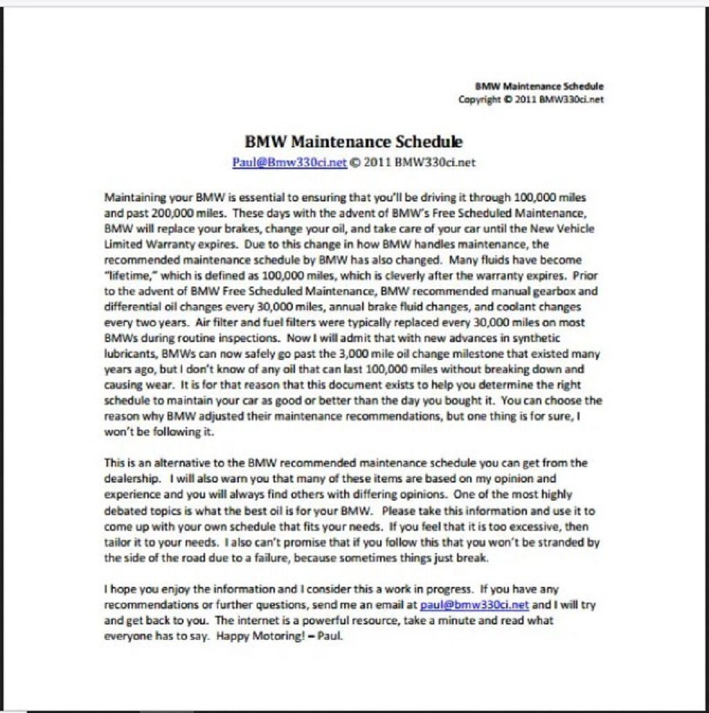 BMW Car Maintenance Schedule Template PDF Form Sample Preventive Chart Machine Pdf Excel  Samples Large
