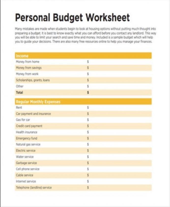 Basic Personal Budget Worksheet Template Sample Example Budget Personal Budget Template Examples
