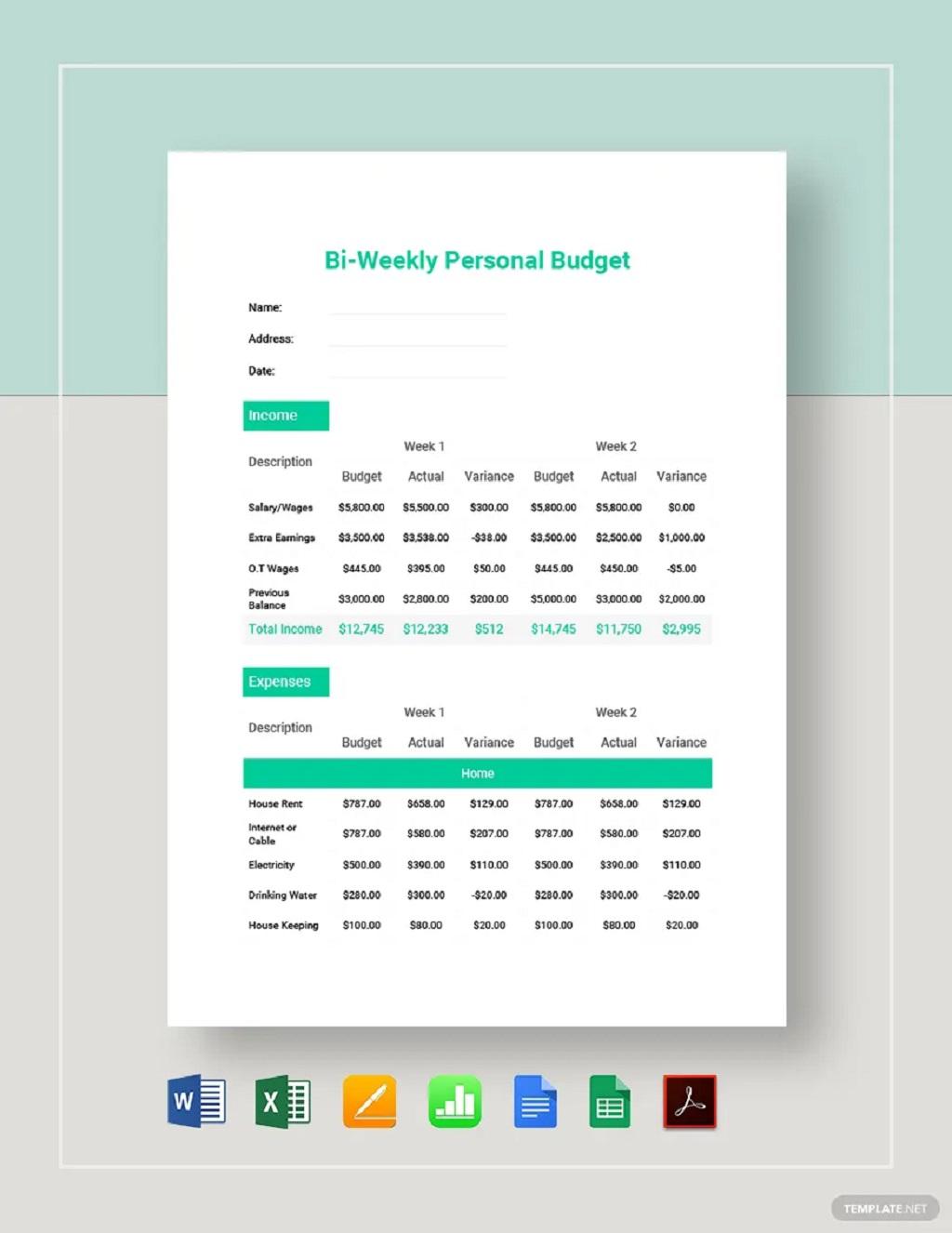 Bi-Weekly Personal Budget Template Worksheet Sample Example