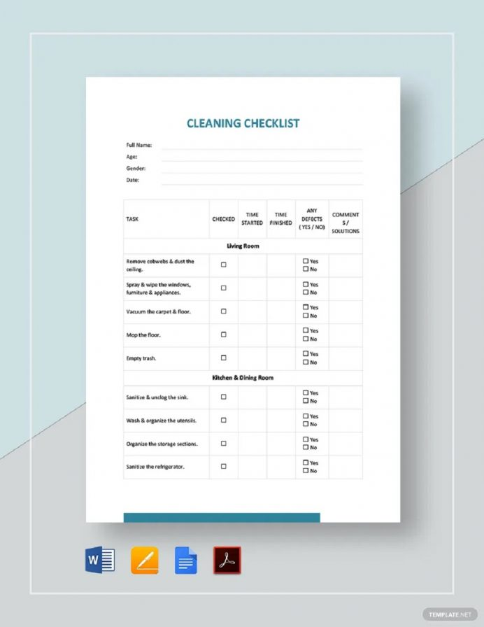 Blank Cleaning Checklist Template Example Checklist Cleaning Checklist Template Examples