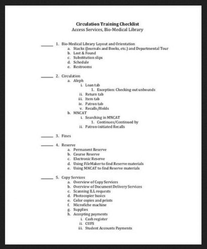 Circulation Training Checklist Template Sample