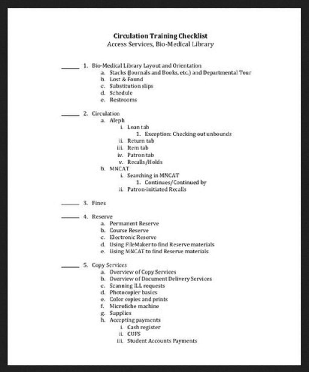 Circulation Training Checklist Sample Employee Word Pdf Template Google Docs  Samples Large