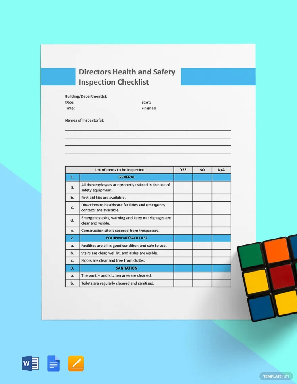 Directors Health And Safety Inspection Checklist Form Template Examples Pdf Equipment Machine Workplace General Facility  Large