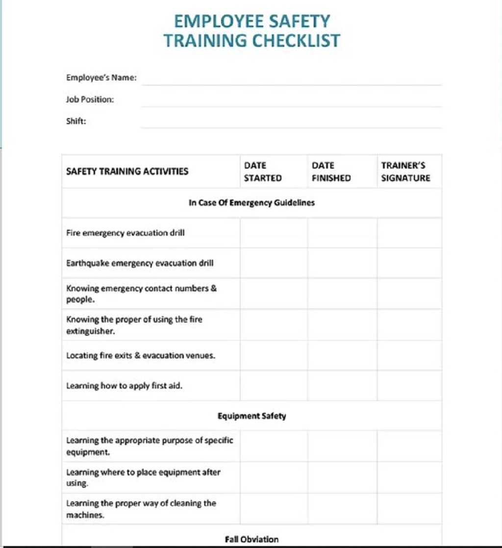 Employee Safety Training Checklist Word Pdf Template Google Docs  Samples Large