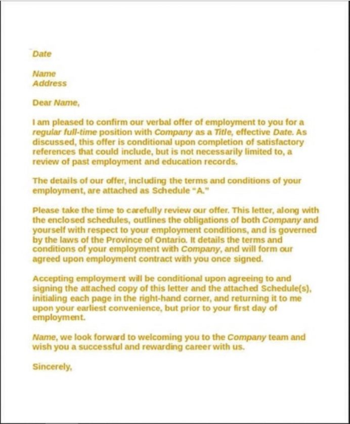 Employment Contract Acceptance Letter Template Sample Format In Word Of Job From Employer College School  Interesting