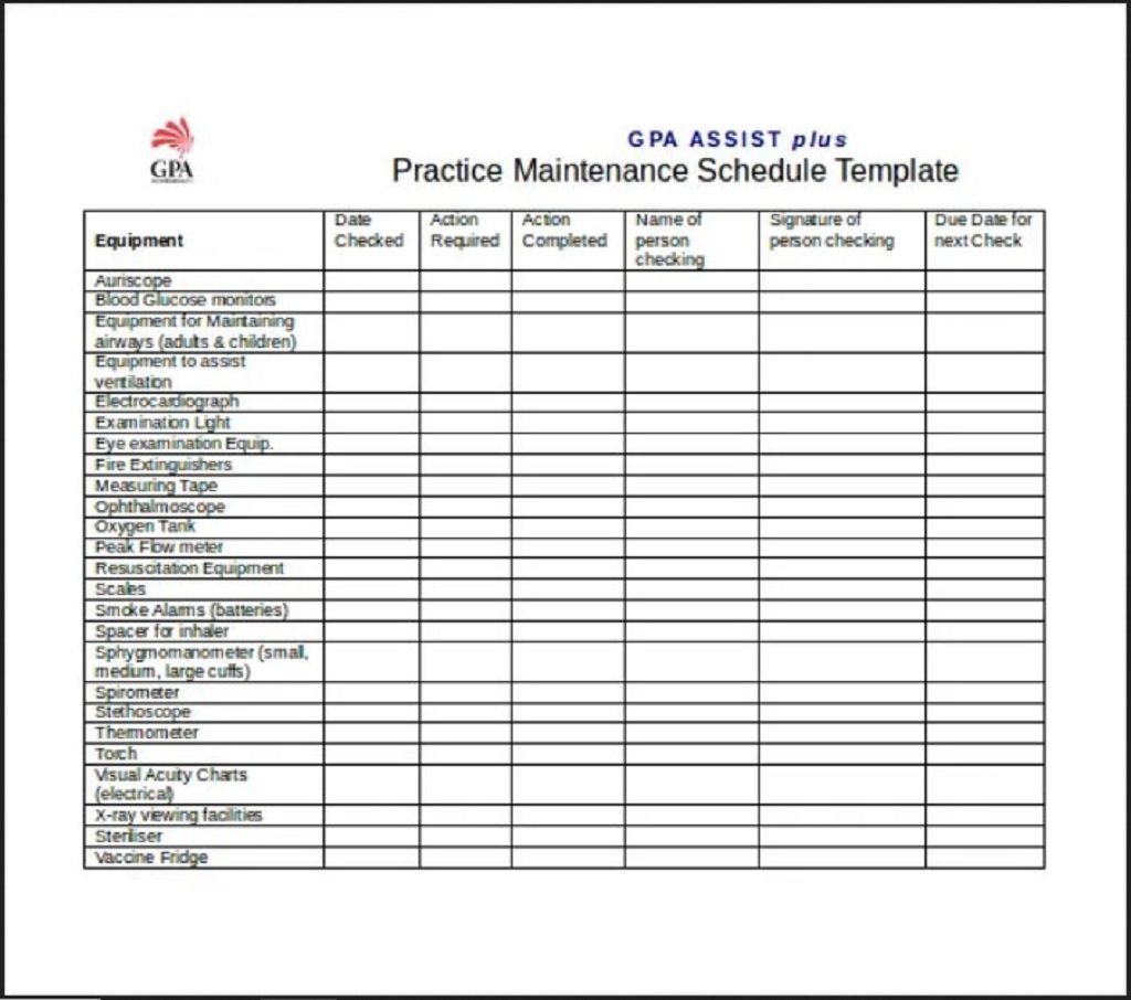 GPA Practice Maintenance Schedule Template Word Form Sample Preventive Car Chart Machine Pdf Excel  Samples Large