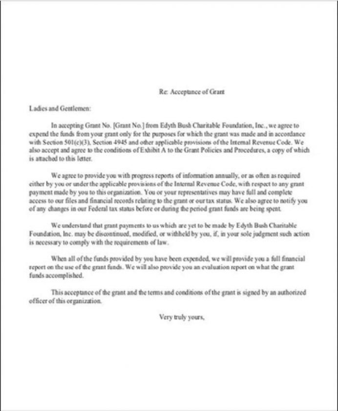 Grant Acceptance Letter Template Sample Format In Word Of Job From Employer College School  Interesting