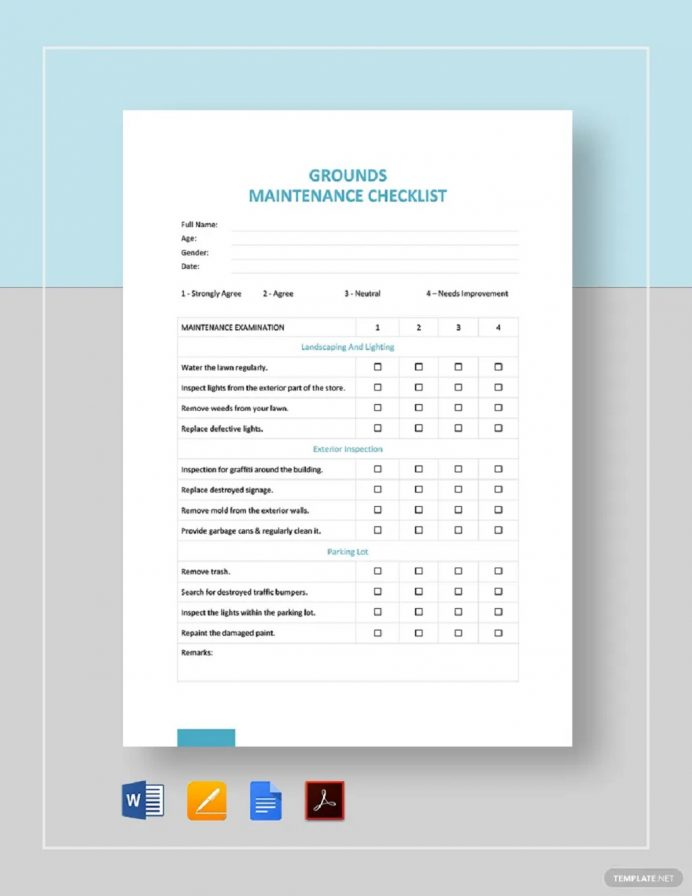 Grounds-Maintenance-Checklist-Example Checklist Maintenance Checklist Template Examples