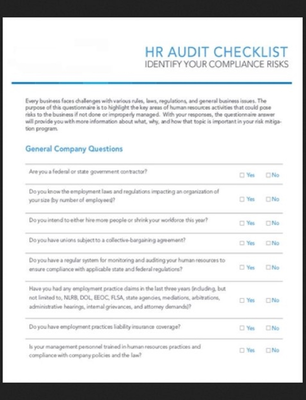 HR Audit Checklist Template Example Form Hr Daily For Strategies Startups Excel Documents  Examples Large