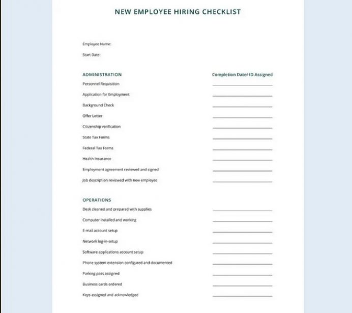 Free HR Checklist for Office Administration Checklist HR Checklist Template Examples
