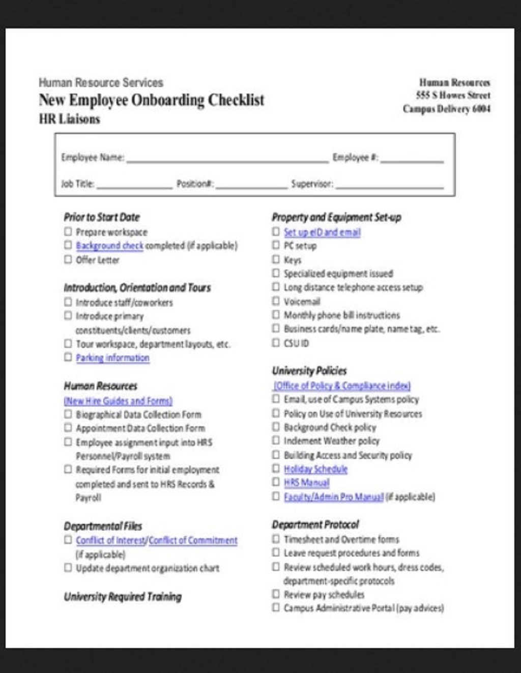 HR Employee Onboarding Checklist Template Example Form Hr Daily For Audit Strategies Startups Excel Documents  Examples Large