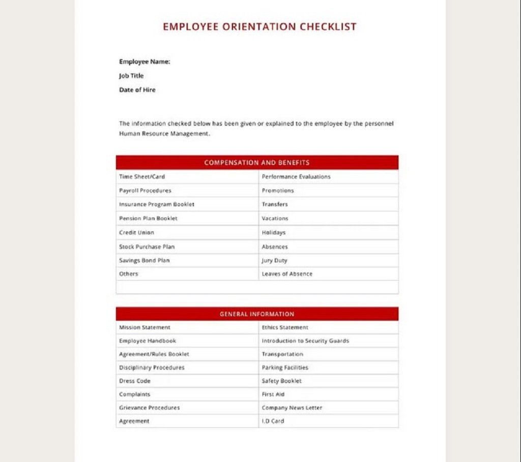 Free HR Employee Orientation Checklist Template Hr Daily For Audit Strategies Startups Excel Documents  Examples Large