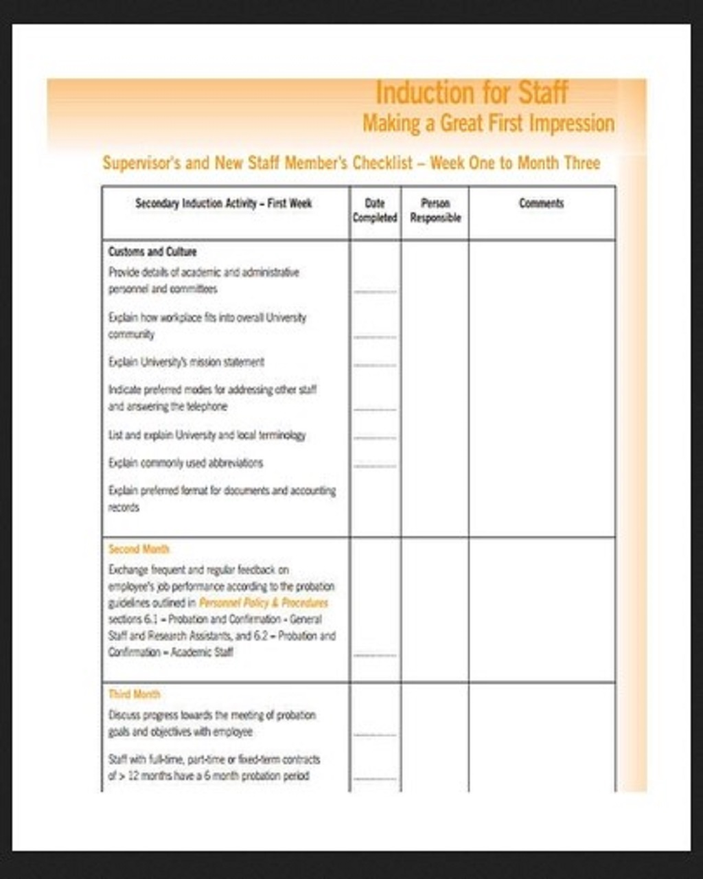 HR Induction Checklist Template Sample Purpose Word Hr Pdf  Examples Large