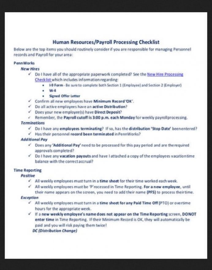 HR Processing Payroll Checklist Template Example Form