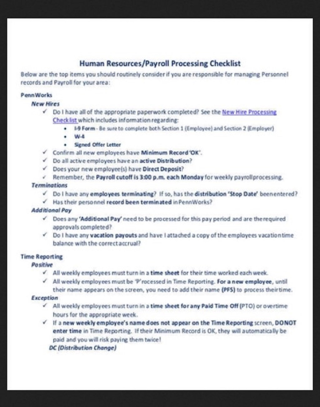 HR Processing Payroll Checklist Template Example Form Hr Daily For Audit Strategies Startups Excel Documents  Examples Large