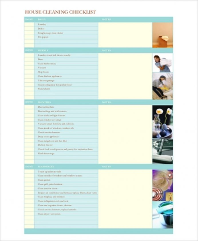 House Cleaning Checklist Example