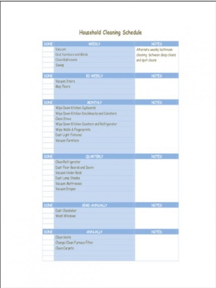 Household Cleaning Schedule Template Sample Schedule Cleaning Schedule Template Examples