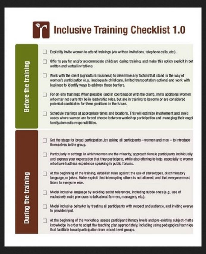 Inclusive Training Checklist Sample Template