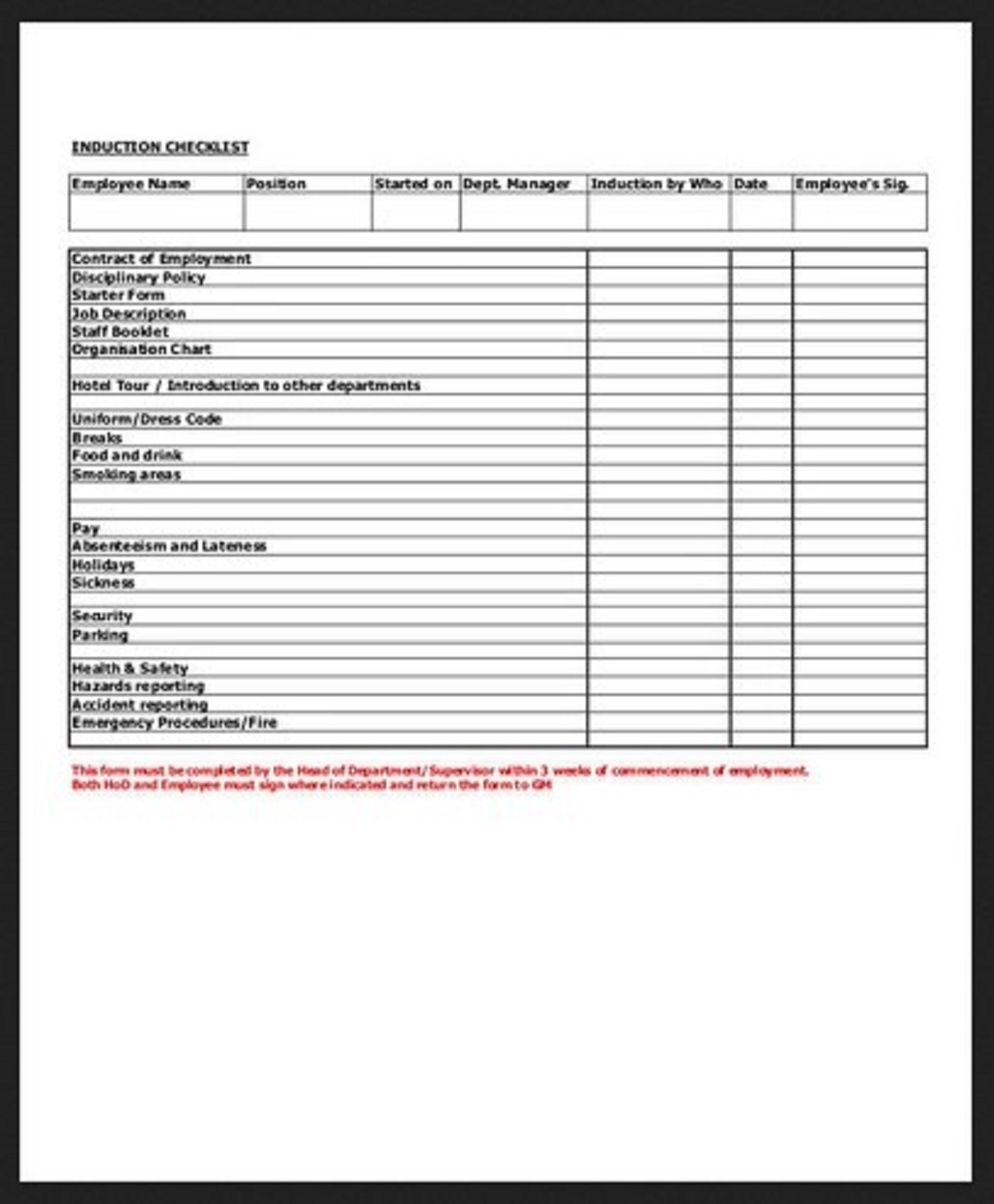 Induction Training Checklist Example Employee Word Pdf Template Google Docs  Samples Large