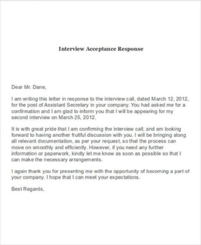 Interview Acceptance Response Letter Template Sample Format In Word Of Job From Employer College School  Interesting