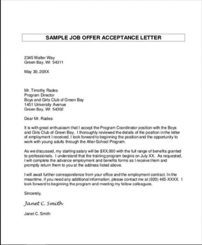 Job Contract Acceptance Letter Template Sample Format In Word Of From Employer College School  Interesting