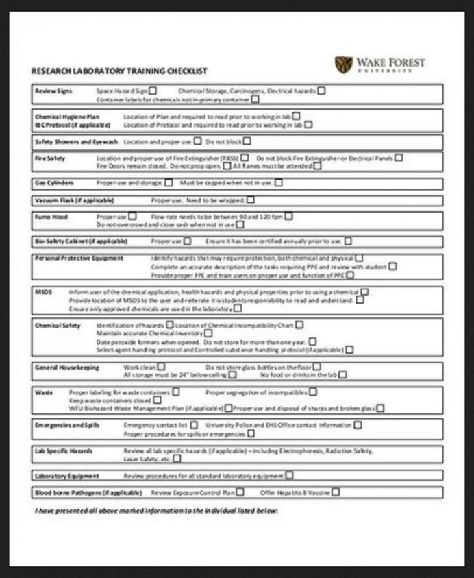 Research Laboratory Training Checklist Example
