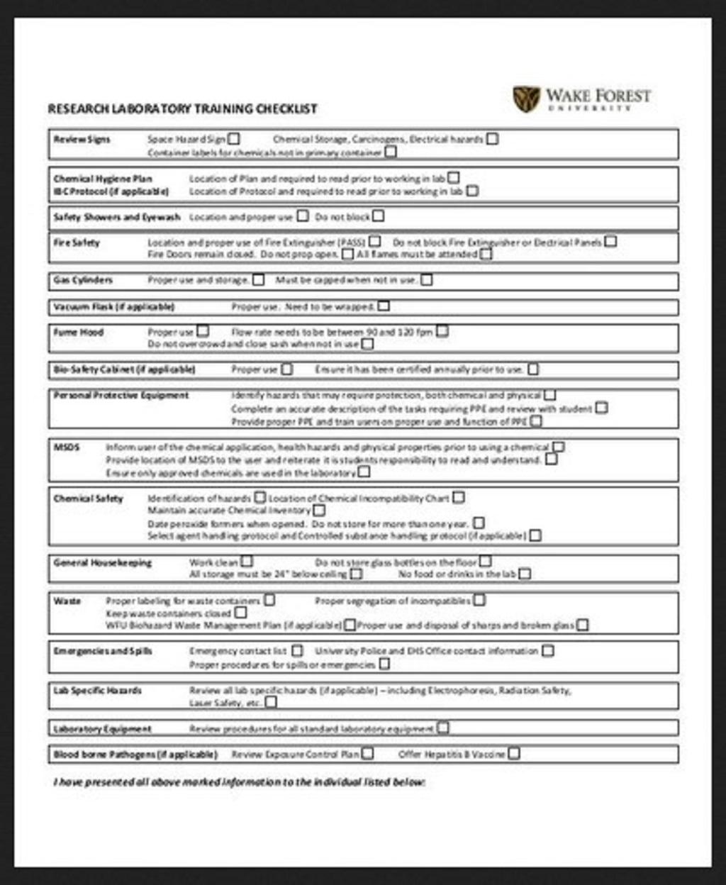 Laboratory Training Checklist Example Employee Word Pdf Template Google Docs  Samples Large