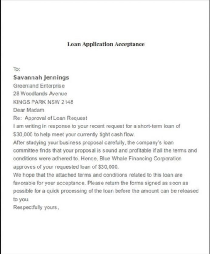 Loan Application Acceptance Letter Template Sample Format In Word Of Job From Employer College School  Interesting