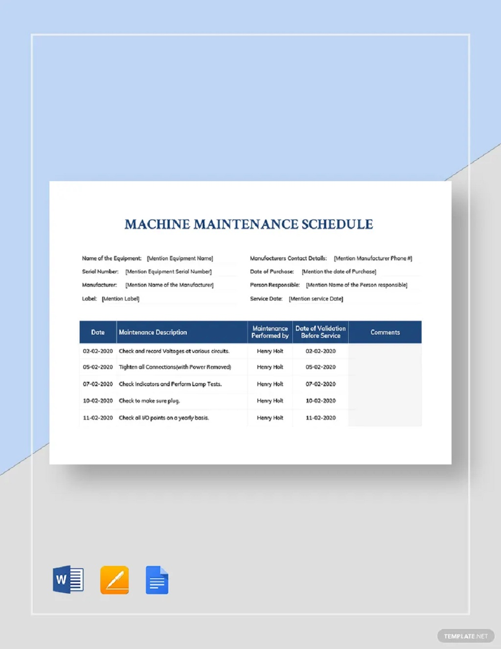 Professional Machine Maintenance Schedule Template Sample Preventive Car Chart Pdf Excel  Samples Large
