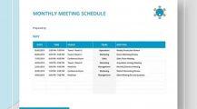 Monthly Meeting Agenda Schedule Template Sample MS Word Schedule 16+ Meeting Schedule Template Samples