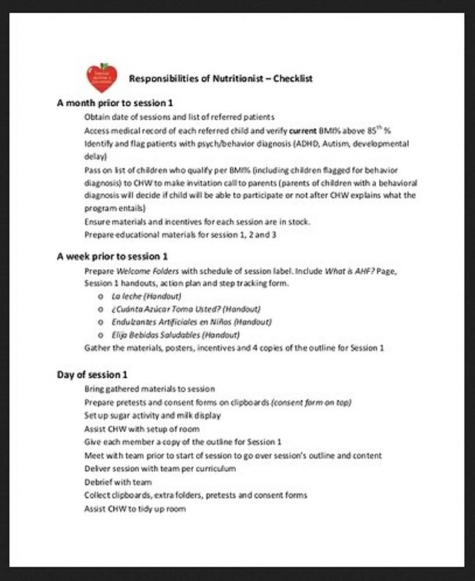 Nutritionist Training Checklist Template Example