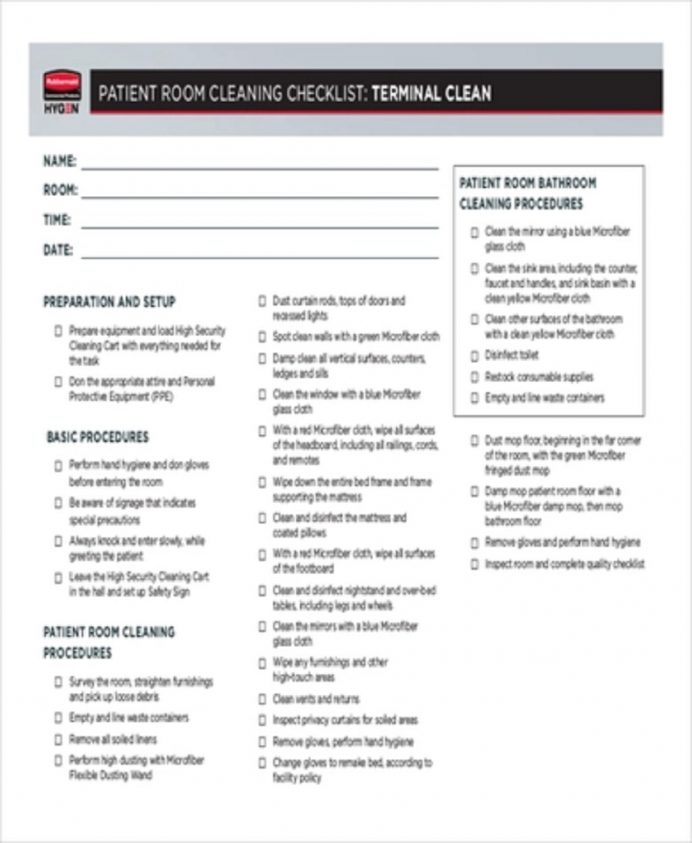 Patient Room Cleaning Checklist Form Checklist Cleaning Checklist Template Examples