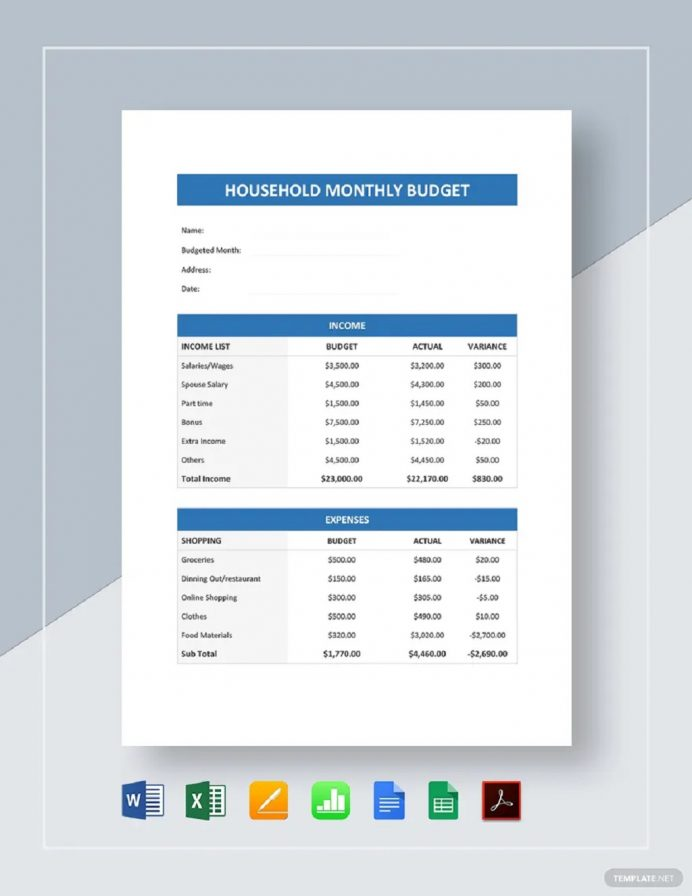Personal Household Monthly Budget Spreadsheet Template Sample Example Budget Personal Budget Template Examples
