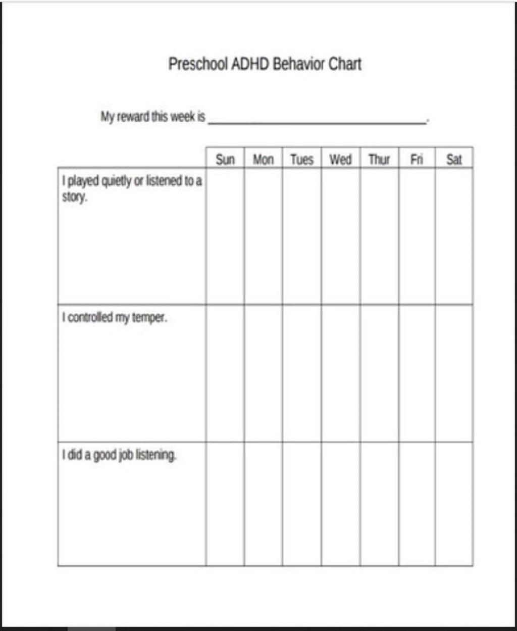 Preschool ADHD Behavior Chart Template Sample Printable Charts For Home Pdf Teachers Classroom  Samples Large
