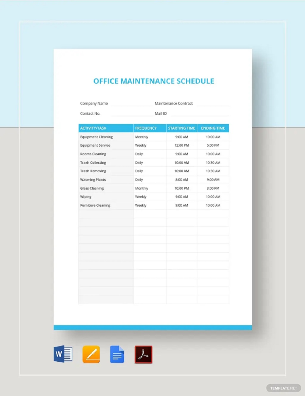 Professional Office Maintenance Schedule Template Sample Preventive Car Chart Machine Pdf Excel  Samples Large