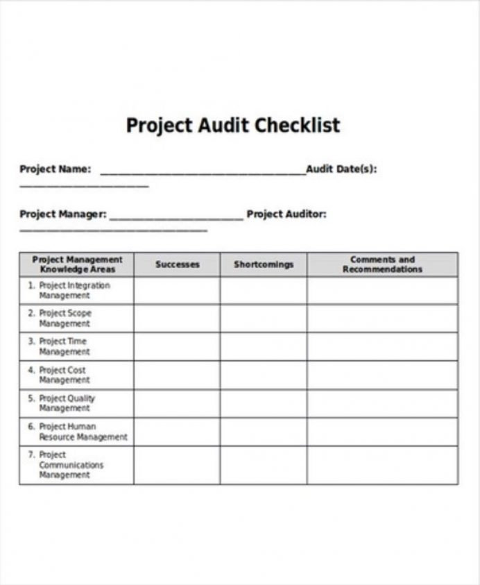 Project Audit Checklist Sample Doc Checklist Project Checklist Template Examples