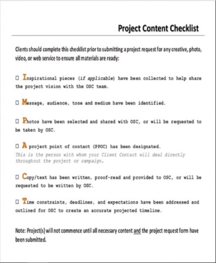 Project Content Checklist Sample PDF Checklist Project Checklist Template Examples