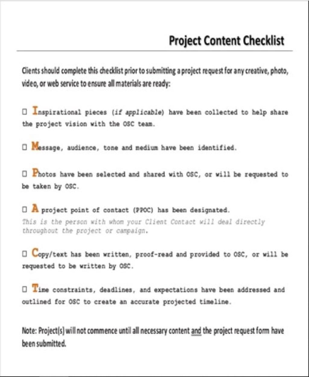 Project Content Checklist Sample PDF