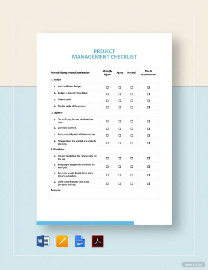 Project Management Checklist Template Sample Checklist Project Checklist Template Examples