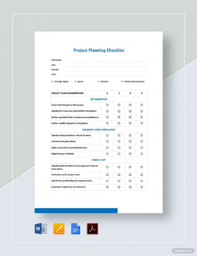 Project Planning Checklist Sample Template Checklist Project Checklist Template Examples