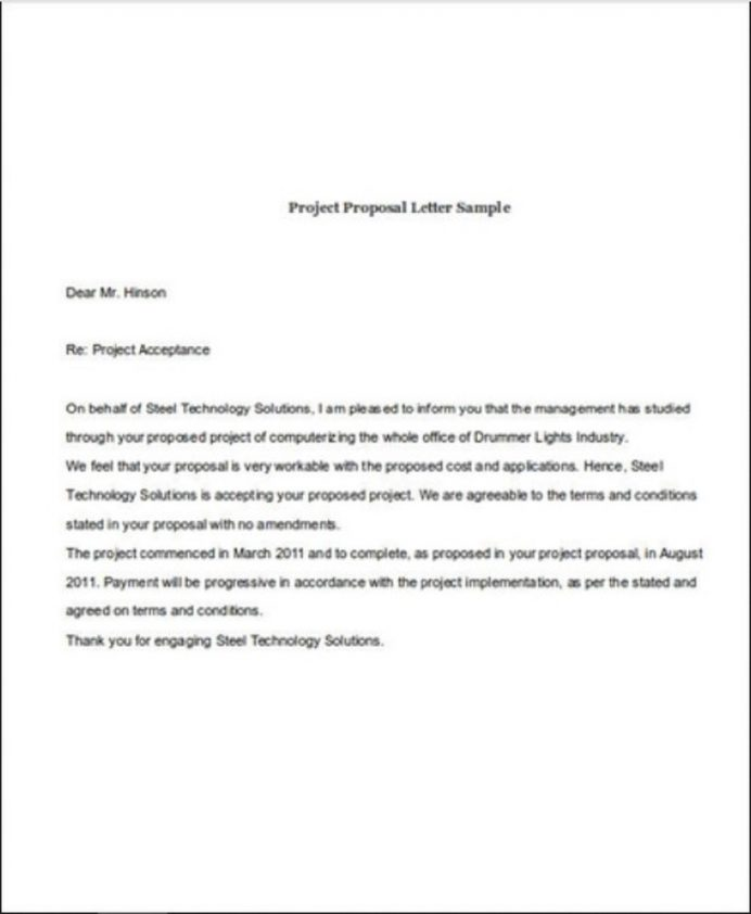 Project Proposal Acceptance Letter Template Sample Format In Word Of Job From Employer College School  Interesting