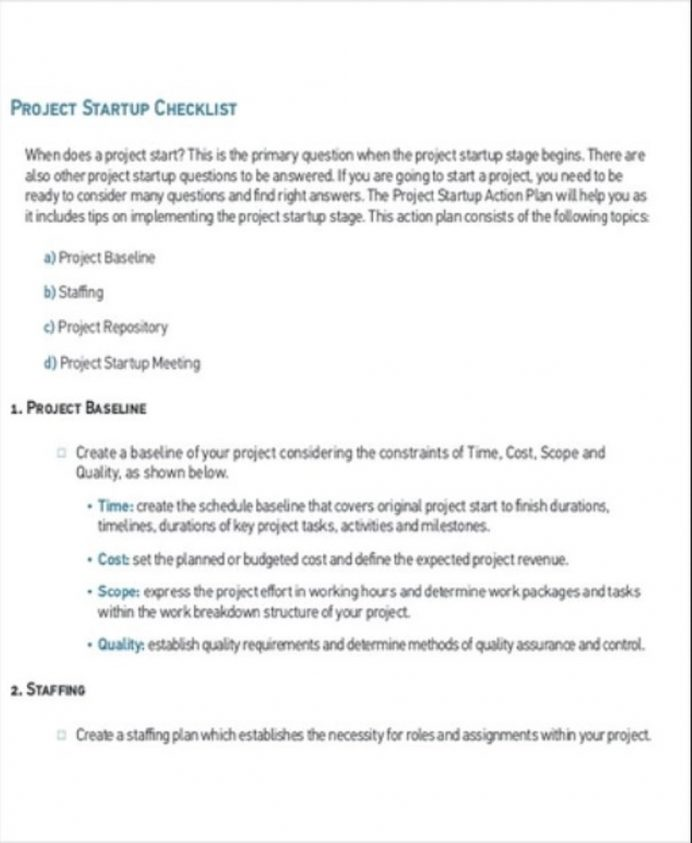Project Startup Checklist Sample PDF Checklist Project Checklist Template Examples