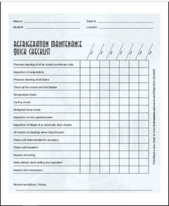 Refrigerator Maintenance Checklist Template Sample Form Checklist Maintenance Checklist Template Examples