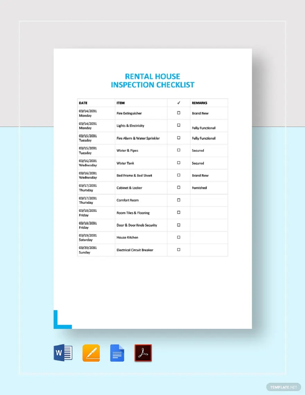 Rental House Inspection Checklist Form Template Examples Pdf Equipment Machine Workplace General Facility Safety  Large