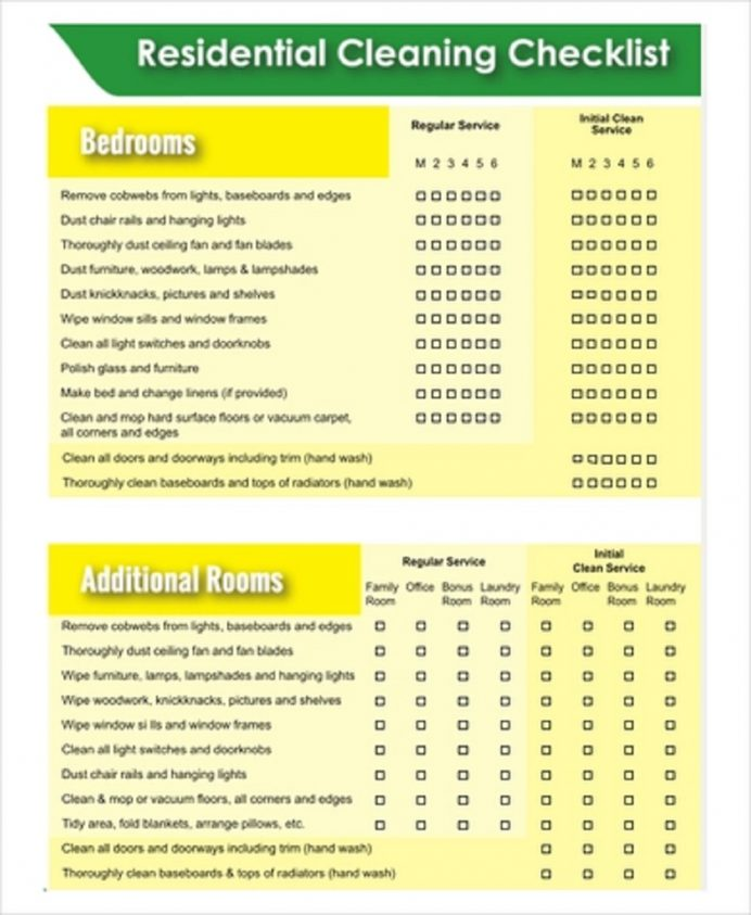 Residential Cleaning Checklist Template Sample