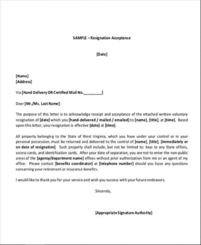 Resignation Letter Of Acceptance Template Sample Format In Word Job From Employer College School  Interesting