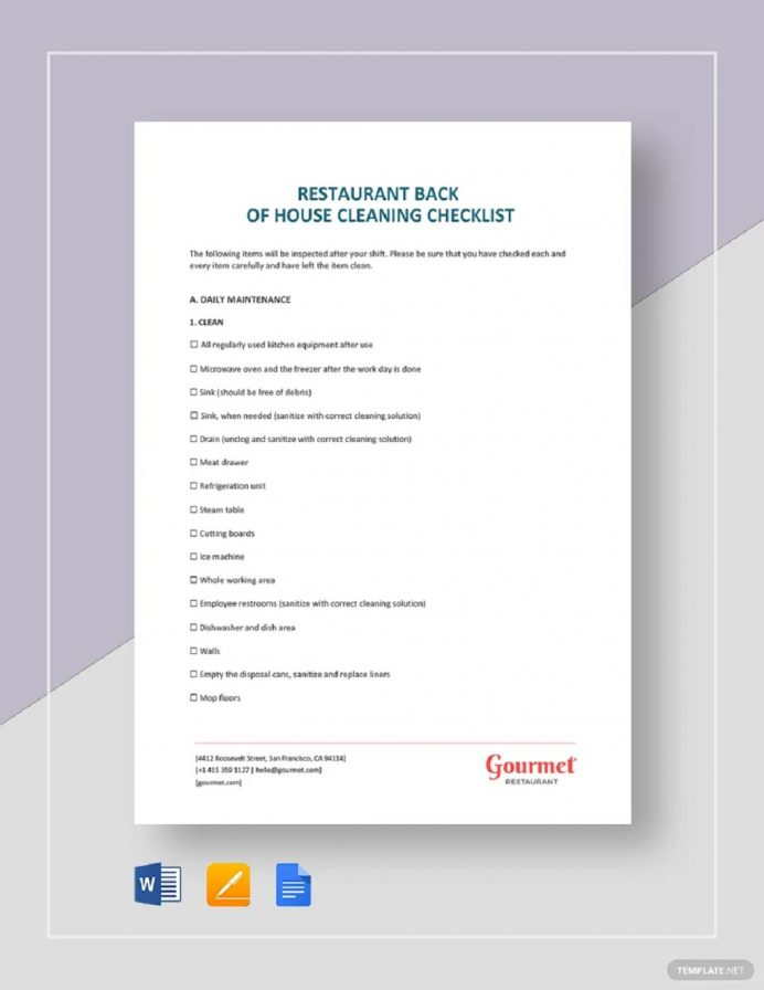 Restaurant Back of House Cleaning Checklist Example Template Checklist Cleaning Checklist Template Examples