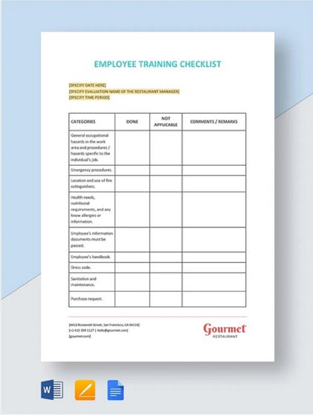 Restaurant Employee Training Checklist Word Pdf Template Google Docs  Samples Large