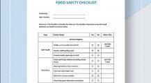 Restaurant Food Safety Checklist Template Sample Form Checklist Safety Checklist Template Examples