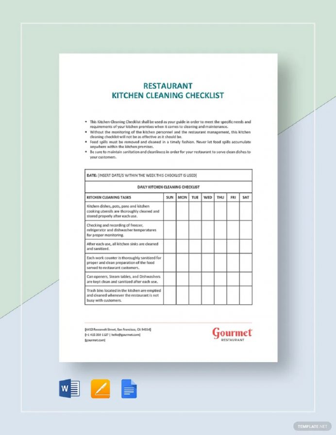 Template Restaurant Kitchen Cleaning Checklist Example Checklist Cleaning Checklist Template Examples